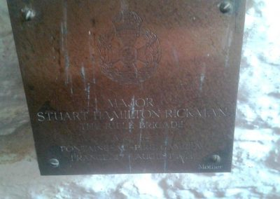 Major SH Rickman-Childrey Church-plaque affixed by Mother