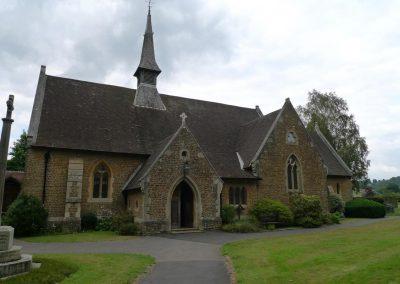 Shamley Green church showing location of cross to R f door